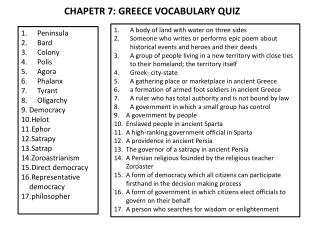 CHAPETR 7: GREECE VOCABULARY  QUIZ