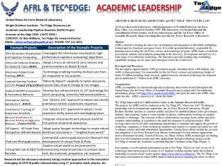 AFRL &  Tec^Edge :    Academic Leadership