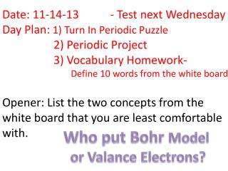Who put Bohr  Model  or Valance Electrons?