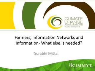 Farmers, Information Networks and Information- What else is needed?