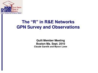 "The ""R"" in R&E Networks GPN Survey and Observations"