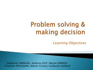 Problem solving  &  making decision