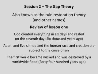 Review of lesson one