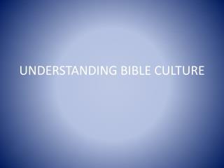 UNDERSTANDING BIBLE CULTURE