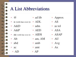 A List Abbreviations