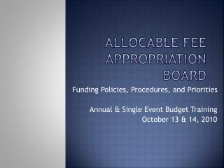 Allocable Fee Appropriation Board