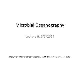 Microbial Oceanography
