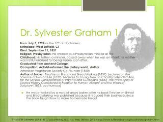 Dr. Sylvester Graham 1