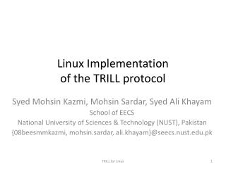 Linux  Implementation of  the TRILL protocol