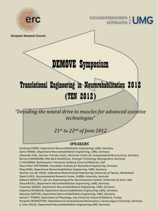DEMOVE Symposium Translational Engineering in  Neurorehabilitation  2012  (TEN 2012)
