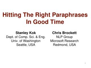 Hitting The Right Paraphrases In Good Time