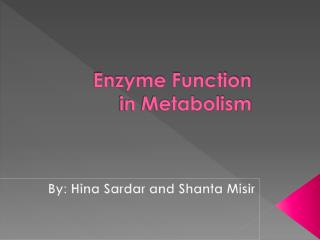 Enzyme Function in Metabolism