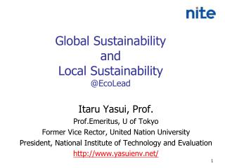 Global Sustainability  and  Local Sustainability @ EcoLead