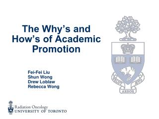 The Why's and How's of Academic Promotion