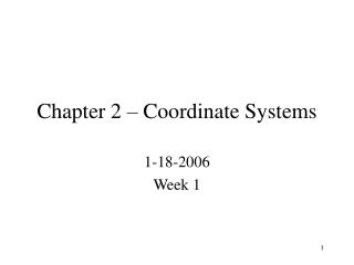 Chapter 2   Coordinate Systems