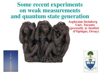 Some recent experiments on weak measurements and quantum state generation