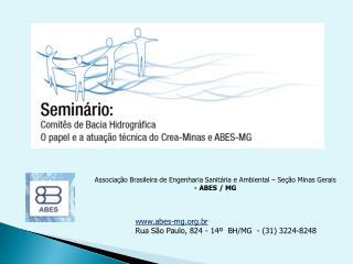 Associa��o Brasileira de Engenharia Sanit�ria e Ambiental � Se��o Minas Gerais - ABES / MG