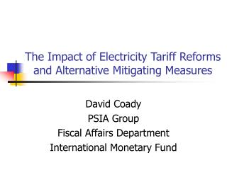 The Impact of Electricity Tariff Reforms and Alternative Mitigating Measures