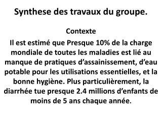 Synthese des travaux du groupe.