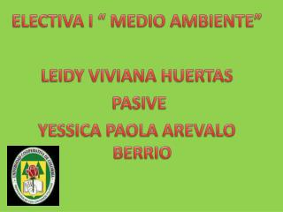 "ELECTIVA I "" MEDIO AMBIENTE"" LEIDY  VIVIANA HUERTAS  PASIVE YESSICA  PAOLA AREVALO BERRIO"