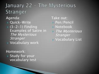 January 22 – The Mysterious Stranger