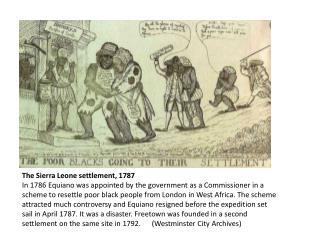 The Sierra Leone settlement, 1787