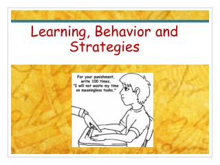 Learning, Behavior and Strategies