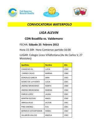 CONVOCATORIA WATERPOLO