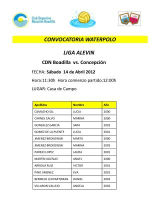 CONVOCATORIA WATERPOLO