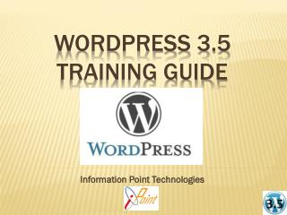 WordPress  3.5  Training Guide