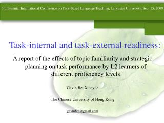 Task-internal and task-external readiness: