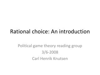 Rational choice: An introduction