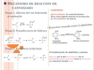 Mecanismo de  reaccion  de cannizzaro