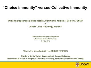 """Choice immunity""  versus Collective Immunity"