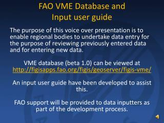 FAO VME Database and Input user guide