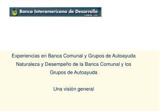 Experiencias en Banca Comunal y Grupos de Autoayuda  Naturaleza y Desempe o de la Banca Comunal y los Grupos de Autoayud