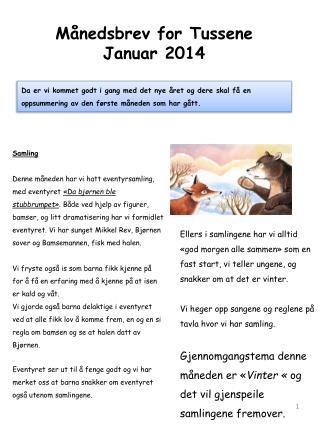 Månedsbrev for Tussene Januar 2014