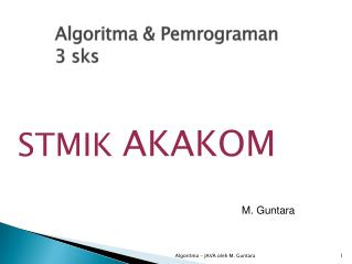 Algoritma & Pemrograman 3 sks
