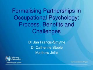 Formalising Partnerships in Occupational Psychology: Process, Benefits and Challenges
