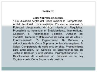 Bolilla III Corte Suprema de Justicia
