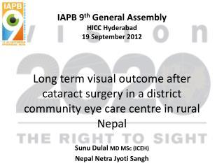 Sunu Dulal MD  MSc  (ICEH) Nepal  Netra Jyoti Sangh