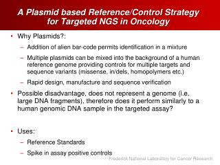 A Plasmid based Reference/Control Strategy for Targeted NGS in Oncology