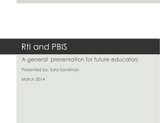 RtI  and PBIS