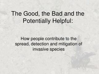 The Good, the Bad and the Potentially Helpful:
