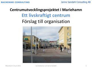 Centrumutvecklingsprojektet i Mariehamn Ett livskraftigt centrum Förslag till organisation