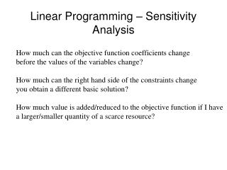 Linear Programming   Sensitivity Analysis