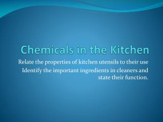 Chemicals in the Kitchen