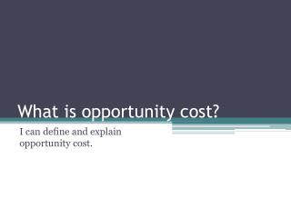 What is opportunity cost?