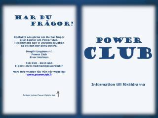 POWER  CLUB           Information till föräldrarna