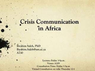 Crisis Communication  in Africa